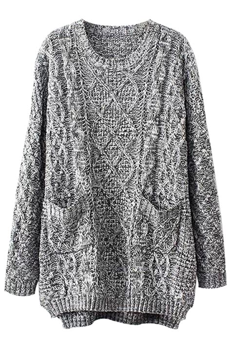 oversized knitted sweaters grey oversized cable knit sweater oasap