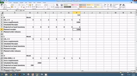 Master Resource Planning Exle Youtube Material Requirement Planning Excel Template