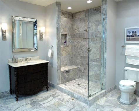 an bathroom featuring claros silver travertine