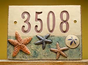 Nautical Outdoor Lighting Sconces Handmade Ceramic House Number Sign Beach By Fine Clay Art