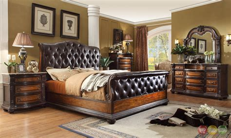 Brown Leather Bedroom Furniture Antique Brown Button Tufted Leather Bedroom Set Marble Tops