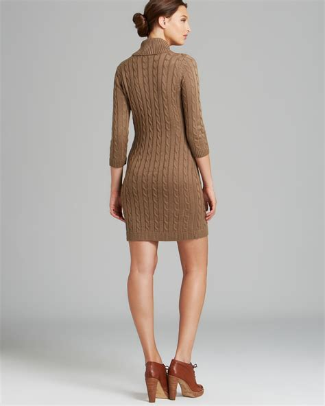 Dress With Cardigan 3 calvin klein shawl collar cable knit sweater dress three quarter sleeves in lyst