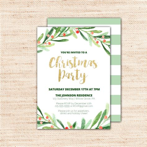 christmas invitation templates sle templates holly wreath printable christmas party invitation template