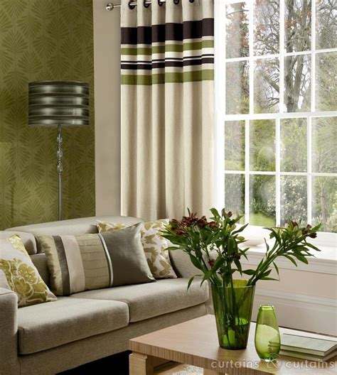 brown patterned eyelet curtains yale green brown striped eyelet curtain brown green and