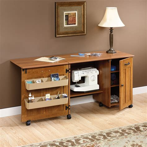 sewing cabinet machine table folding craft shelves storage