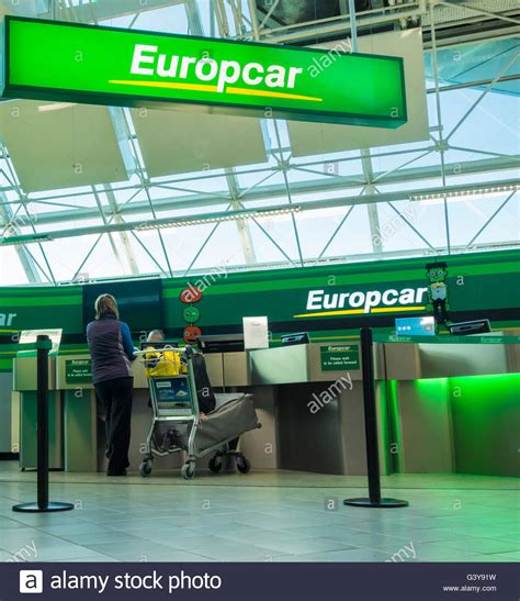 Europcar car hire desk in Newcastle Airport. England. UK