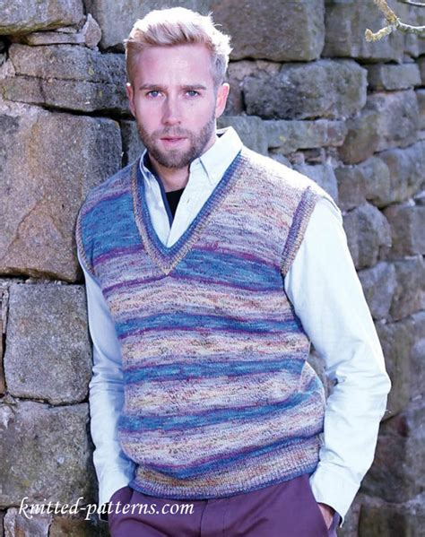 knitting pattern mens sleeveless vest men s slipover knitting pattern free