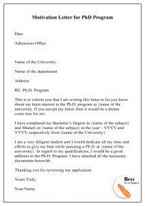 write motivation letter phd word