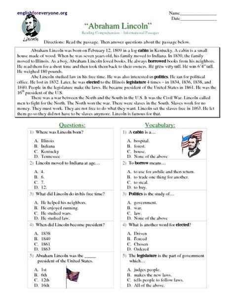 printable reading comprehension test for 7th grade worksheets abraham lincoln worksheets opossumsoft