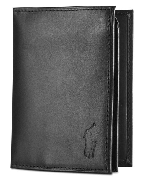Polo Wallet For polo ralph s wallet burnished billfold wallet with window in black for lyst