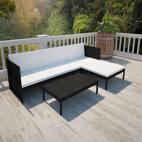 Polyrattan Lounge Schwarz by Poly Rattan Gartenm 246 Bel Lounge Set 3 Sitzer Schwarz De