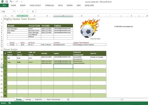 soccer team template soccer roster free excel template excel templates for