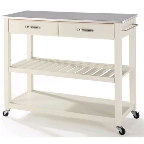 stainless steel kitchen island cart crosley kitchen cart island stainless steel top in white