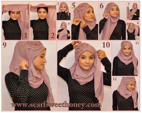 tutorial jilbab  memakai jilbab selendang hiasan mawar
