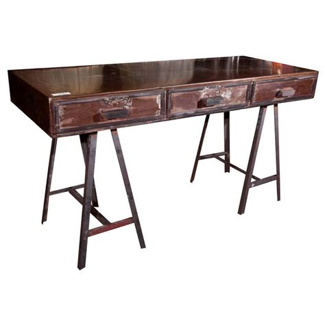 industrial metal trestle writing desk at 1stdibs