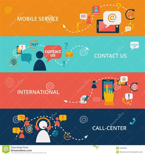 contact us banners stock vector image 42923804