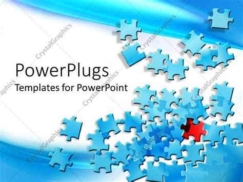 powerpoint template blue jigsaw puzzle pieces spread on