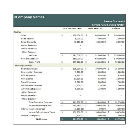 27 income statement exles templates single multi