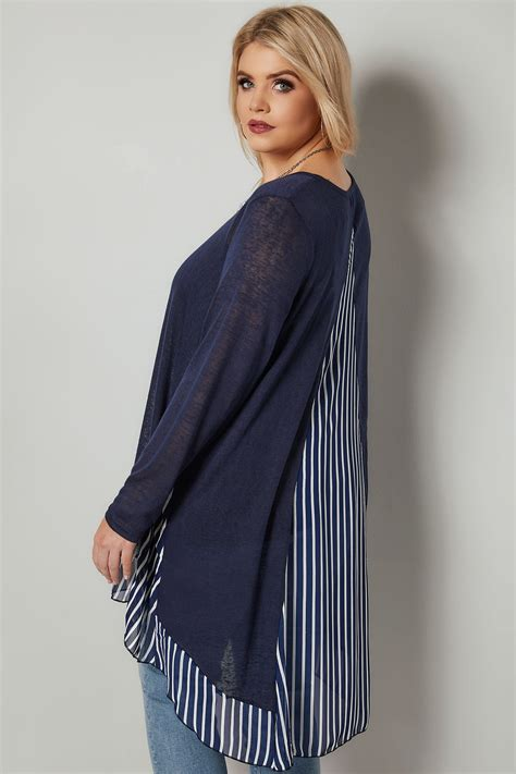 Check Value Of Visa Vanilla Gift Card - blue vanilla curve navy fine knit longline top with stripe chiffon panel curved hem