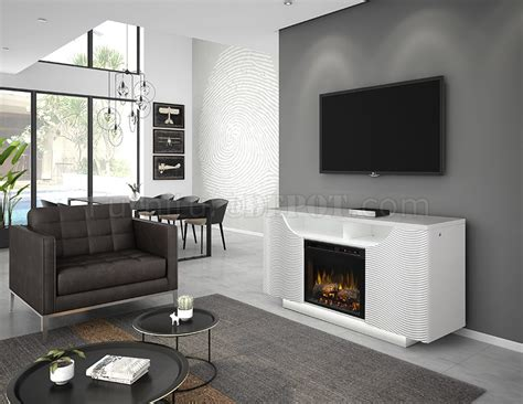 ethan electric fireplace media console white  dimplex wlogs