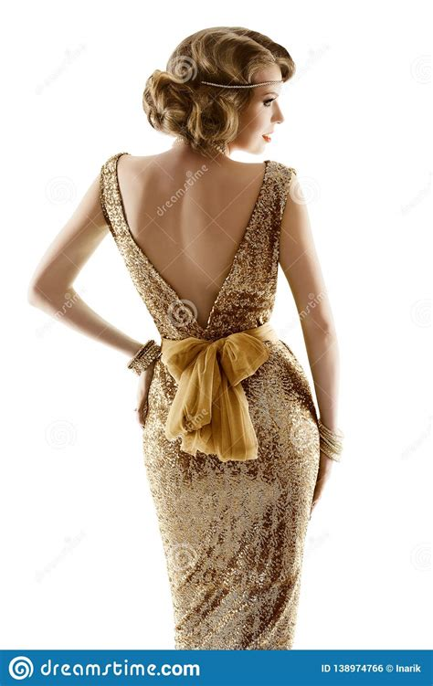 retro fashion model gold dress woman old fashioned beauty