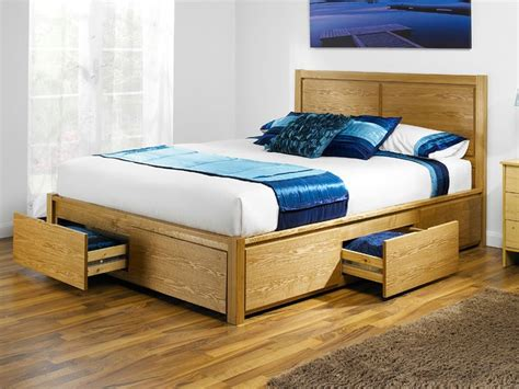 Wooden Bed Frames With Storage Drawers The Stoarge Opus Size Wooden Bed Frame With 4 Drawers Bedroom Headboards Beds
