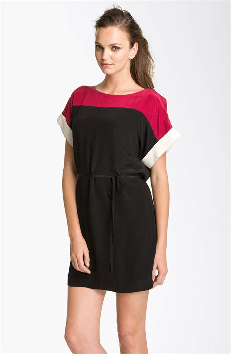 Is This Connection Shift The Dress Of The Season by Connection Colorblock Silk Shift Dress In Black