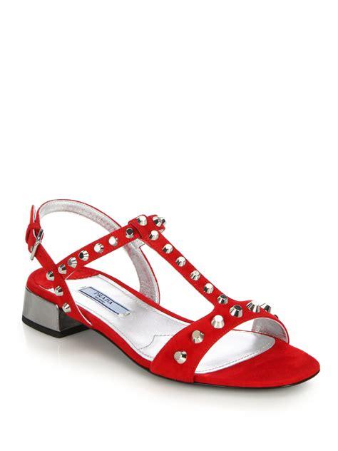 prada sandals lyst prada studded suede sandals in