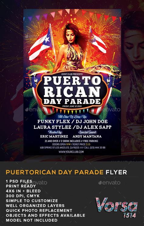 simple business model template puerto rican day parade flyer graphicriver