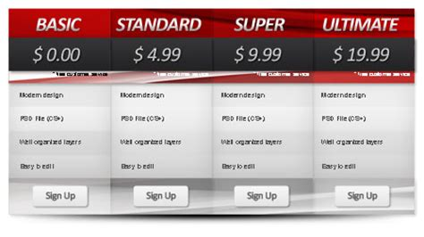 Pricing Table Template For Photoshop Photoshop Table Template