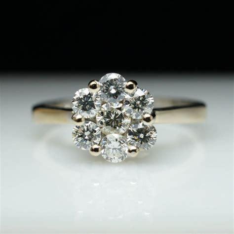 vintage flower engagement ring cluster engagement ring