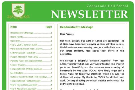 College Newsletter Sles Newsletters Essex School Information Coopersale School