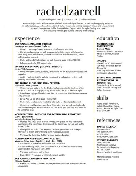 Two Column Resume by Beautiful Resume Layout Two Column Cv Ideas