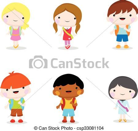 imagenes niños yendo ala escuela vector clip art de escuela yendo ni 241 os seis poco