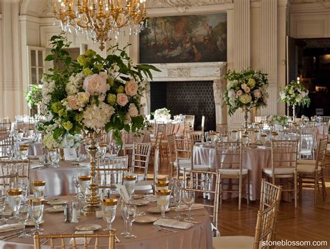 Spring wedding reception in the opulent ballroom of