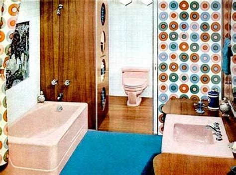 Bathrooms Flooring - 1960s bathroom with wood panels and flooring and pale pink suite 1960s bathroom pinterest