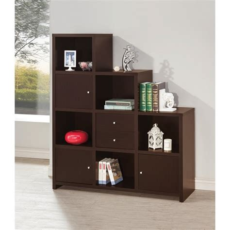 coaster asymmetrical bookshelf in cappuccino 801170