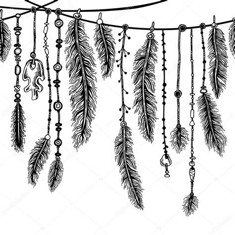 tribal theme background with hand drawn feathers seamless