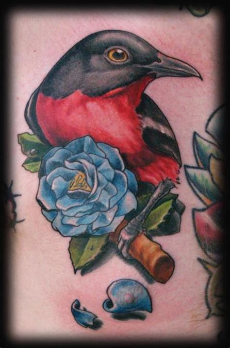 neo traditional bird and rose by evan lovett tattoonow