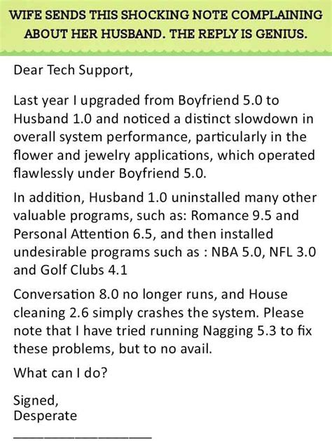 Support Letter For My Husband Best Reply To A Relationship Complain This Is Genius