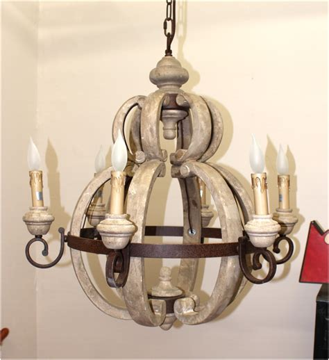 Aged French Country Cottage Style Large Round Wood Cottage Style Light Fixtures
