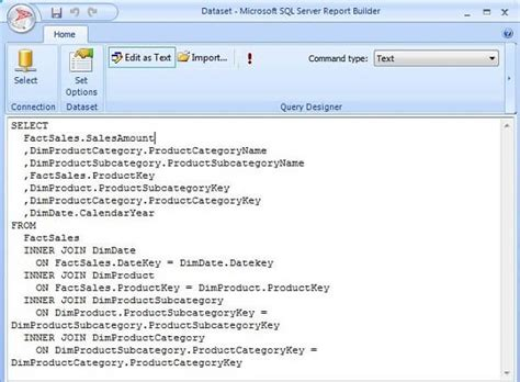 sql query in tutorial point report builder datasets