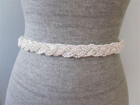 white beaded belt pearl braid beaded wedding sash belt ivory or white beaded
