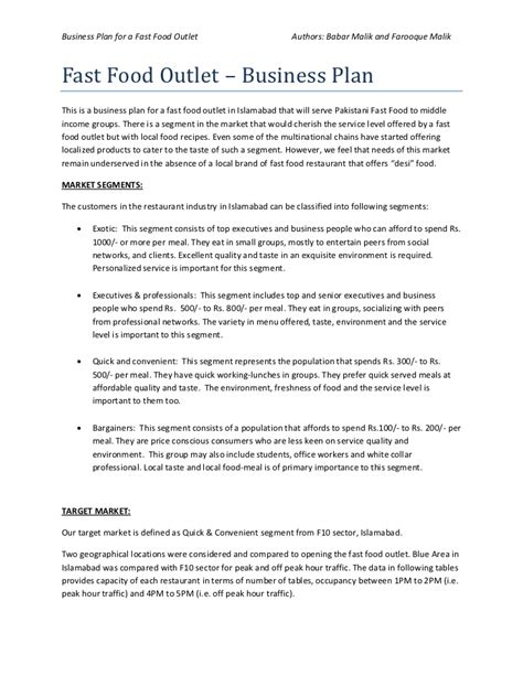 Business Plan Of Fast Food Restaurant Fast Business Plan Template