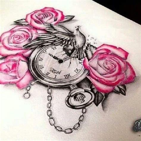 rosen tattoo clock dove roses taschenuhr taube wundersch 246 n