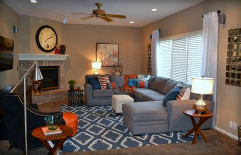 Orange Blue Room Decor by Grey And Blue Living Room Search Rooms I