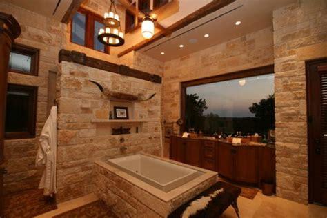 rustic master bathroom ideas dekorasyonunda do茵al ta蝓 kullan莖lan g 246 rkemli banyolar 8