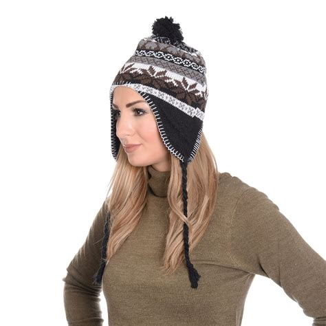 womens mens winter vintage bobble trapper beanie hat with