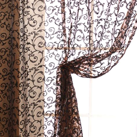 sheer curtain scarf floral voile door window curtain drape panel sheer scarf
