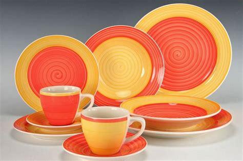 steinzeug geschirr 18 tlg kaffeeservice orange gelb kaffee service keramik